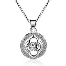 Dancing Infinity Cubic Zirconia Sterling Silver Halo Pendant Necklace Gift Box