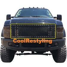 For 08 09 10 Ford F250 350 Super Duty Black Wire Mesh Rivet Grille Grill Insert