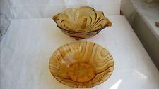 2 x Schale Pressglasschale Pressglas gelb Art Deco Bernsteinglas Schüssel Obst