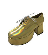 1b59e28e522 Fancy Dress Mens 70s 80s Party Platform White Silver Gold Shoes Gold  Platform Shoes Superhero Saturday