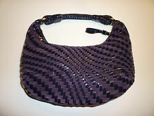 NWOT: COLE HAAN Brynn Purple Woven Patent Leather & Suede Hobo Bag