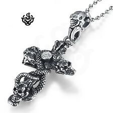Silver gothic cross skulls snake clear crystal pendant necklace vintage style