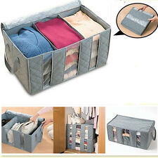 65L Large Charcoal Clothes Sweaters Blankets Closet Organizer Storage Bag Box