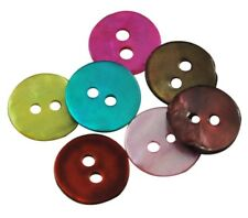 Mother of Pearl Buttons. 10mm 2 Hole. Natural White or Mixed Colour. (BOX51)