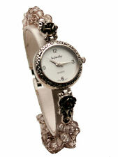 INFINITY WOMENS' ANTIQUE LOOK GLASS  SMOKE COLOR BEADS  WATCH BRACELET
