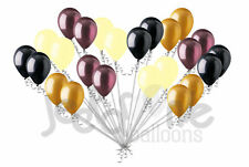 24 pc Elegant Black Burgundy Ivory Gold Latex Balloons Party Decoration Wedding