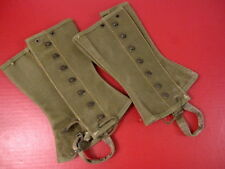 WWII Era US Army M1938 Dismounted OD Green Canvas Leggins Size 2R 1944 - Nice