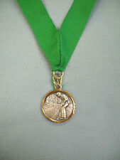 "SILVER MALE GOLF medal 1 1/4"" dia green drape"