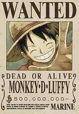 Poster A3 One Piece Mokey  D Luffy Recompensa Wanted Cartel Se Busca