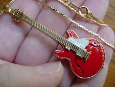 (M-300-C) Red + white GIBSON ES-335 Repro '58 GUITAR Pendant NECKLACE Jewelry