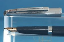 Vintage Waterman School Fountain Pen, Dark Blue with Chrome Trim, 14k Nib
