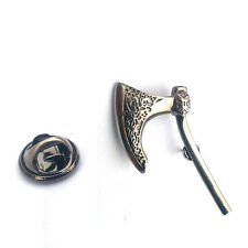Silver Viking Axe Lapel Pin Badge Historic War Battle Vikings Weapons Badges New