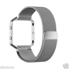 New Milanese Magnetic Stainless Steel Watch Band + Metal Frame For Fitbit Blaze