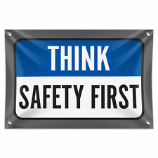 "Think Safety First 33"" x 22"" Mini Vinyl Flag Banner Wall Sign"