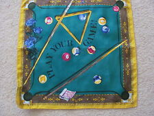 "Moschino Pool Table Game 100% Silk Mini Scarf Pocket Square 17"" Inch 42cm NWOT"