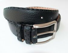 New Kiton Napoli Black Leather Belt 28 30 Hand-stitched in Italy