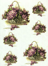 Rice Paper for Decoupage, Scrapbook Sheet, Craft Paper Violet in Basket