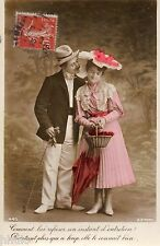 BK787 Carte postale Photo vintage card RPPC couple fantaisie parapluie panier