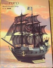 Black Pirate Ship Paper Nano Kawada Laser Cut Paper Model Kit PN124