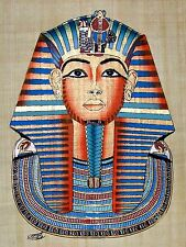 "Egyptian Hand-painted Papyrus Art: Mask of King Tutankhamon 12.5"" x 16.5"" SIGNED"