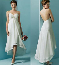 High Waist Simple Short Hi Low Beach Wedding Dress Maternity Dress with Crystals