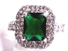 Fancy Emerald Green Topaz & Austrian Crystals in .925 Silver Plated Ring Sz. 7