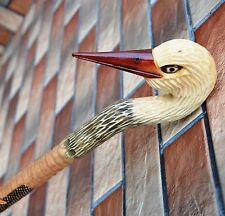 Stork Cane Walking Stick Wooden Handmade Wood Carving Exclusive Folk Art