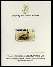 Dominica (408) 1978 Mourning Dove 1c imperf on Format International PROOF  CARD