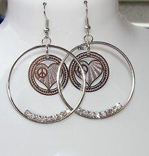 Cuore con Cerchio colore argento Orecchini di Moda donna , idea regalo