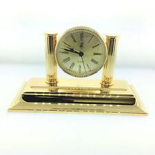 El Casco Executive Desk Clock (23kt Gold & Glass) M-662 L