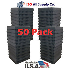 "50 Pack Soundproofing Acoustic Wedge Foam Tiles Wall Panels 12"" X 12"" X 2"""