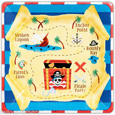 8 Pirate Red Stripe Chest Children's Party Disposable 25.4cm Square Paper Plates