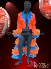CHARISMATICO Neon Orange and Blue Quarter Dancing Jacket with Layered Ruffles