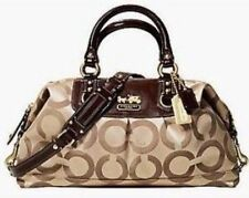 COACH Women's LARGE MADISON SABRINA OP ART Satchel Khaki Brown Shoulder Bag