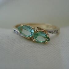 0.59ct Genuine Brazilian Paraiba Tourmaline & Diamond Gold Ring