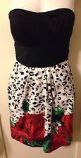 New Sexy SNAP Pin-Up Rockabilly Black, Leopard Print & Red Rose Dress Size Small
