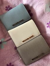 NWT Michael Kors Jet Set Slim Travel Wallet Saffiano Leather (white/silver/blue)