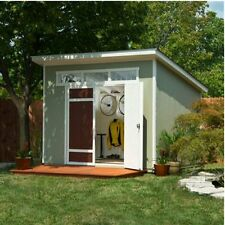 Aston 10' x 7.5' Wood Shed, 565 Cubic Feet of Storage w/ Floor Kit