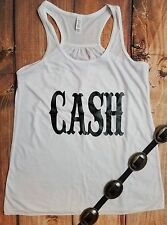 COWGIRL Bling gYPSY JOHNNY CASH Rodeo Ivory  Tank Top Shirt Country Western S