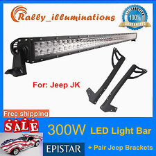 "300W 52"" LED Light Bar+Mounting Bracket For Jeep JK Wrangler Upper Windshield US"