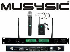 Dual Channel UHF Wireless Microphone System W/ Handheld & Lapel Headset MUSYSIC