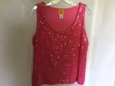 Ruby Rd. Tank Top Pink With Floral Sequins on front Size M sleeveless