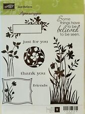 Stampin Up JUST BELIEVE clear mount stamps flowers silhouettes thank you floral