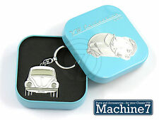 VW Beetle Key Ring Official Volkswagen Bug T1 White Metal Keyring in Gift Box