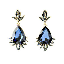 ZARA ELEGANT OVAL FACETED BLUE GLASS STONE DROP DANGLE EARRINGS – NEW
