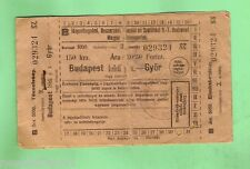 #D71.  1943  RAILWAY TICKET, BUDAPEST TO GYOR, HUNGARY