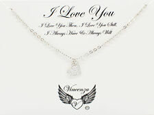 Silver plated Inspirational Message I Love You Card Necklace Jewellery