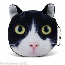 Black & White CAT Kitten Cute COIN PURSE, Fabric Lined Bag Tux Wallet UK Sale