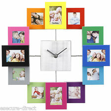 VonHaus Multi Colour Aluminium 12 Picture Aperture Family Photo Frame Wall Clock