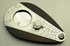 xikar cutter hand engraved floral flowers  Ebony wood